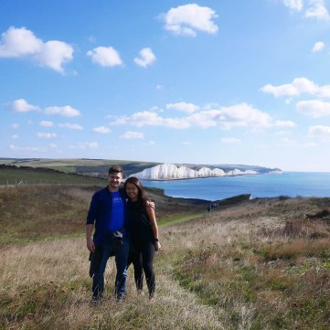 Couple at Seven Sisters Chalk Cliffs Hike