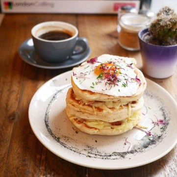 Parma Ham Pancakes with Cheese Fried Egg Kings Cross London Half Cup