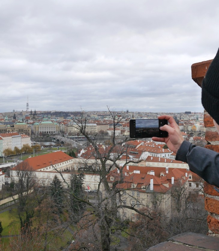 View from Prague Castle through Mobile Screen