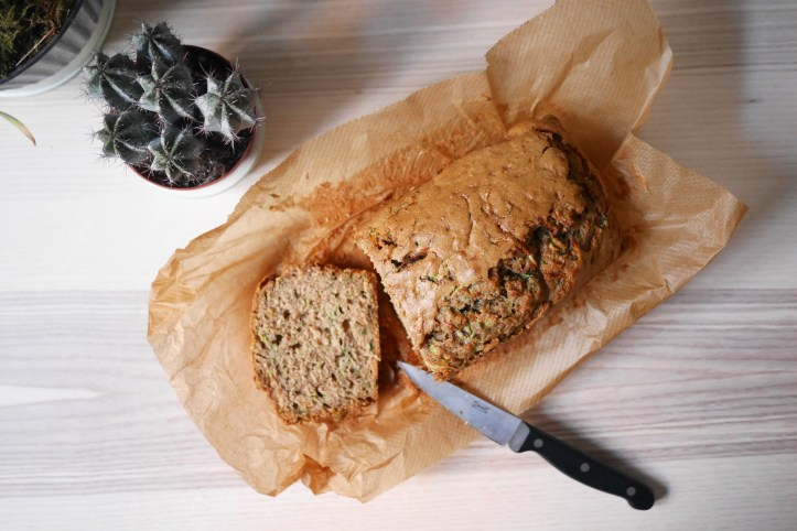 Homemade Healthy Zucchini Breakfast Bread Loaf Flatlay Cut