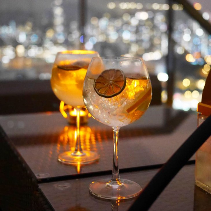 Gin Tonic Rooftop Bar with Beautiful views in Hong Kong