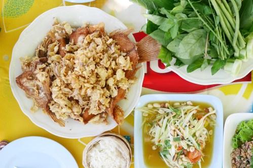 Deep fried tilapia fish with garlic