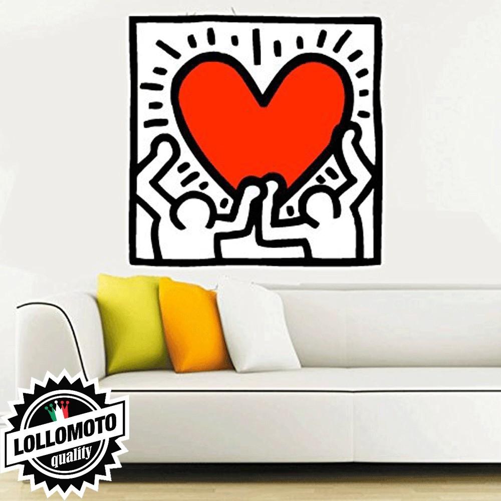 Adesivo murale con stampa 4d gatto. Acquista Cuore Keith Haring Stickers Adesivo Murale Arredamento Da