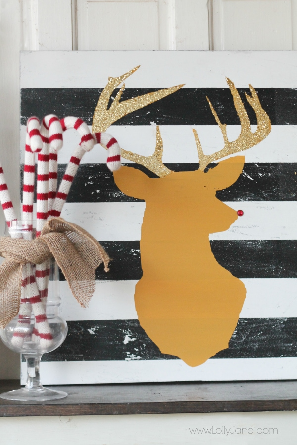 Super cute striped reindeer head art