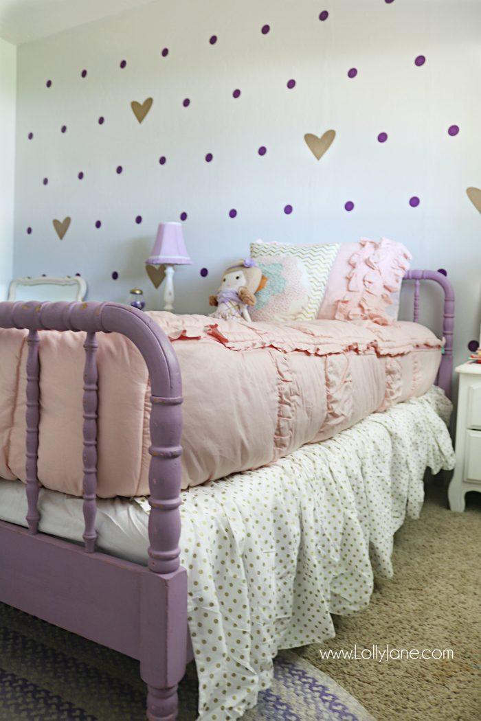 little girl purple gold bedroom makeover - Lolly Jane on Pretty Room Decor For Girl  id=17206