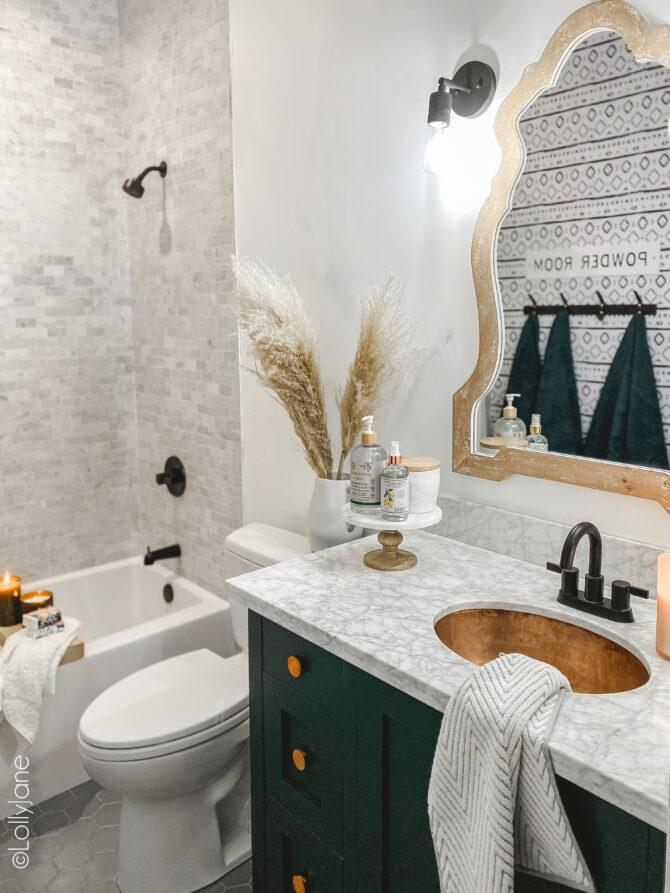 Small Modern Farmhouse Bathroom - Lolly Jane on Farmhouse Bathroom  id=49171