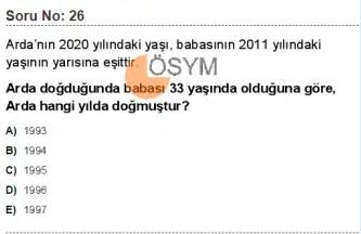 DGS 2020 Sayısal Soru - 26