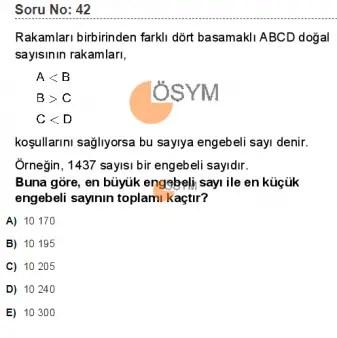 DGS 2020 Sayısal Soru - 42