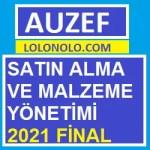 Satın Alma ve Malzeme Yönetimi 2021 Final