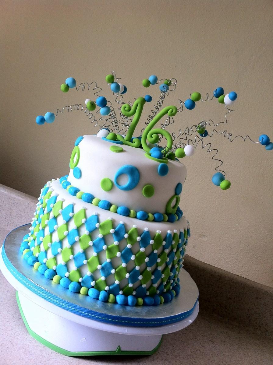 Lime Aqua Harlequin 16 Birthday Cake Lolos Cakes Amp Sweets