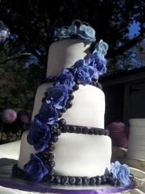 """""""Yili"""" Lavender roses and fresh blueberry swag."""