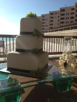"""""""Angela"""" white square wedding cake w/chocolate brown ribbon & lime green orchids - Feeds 70. MSRP $300"""