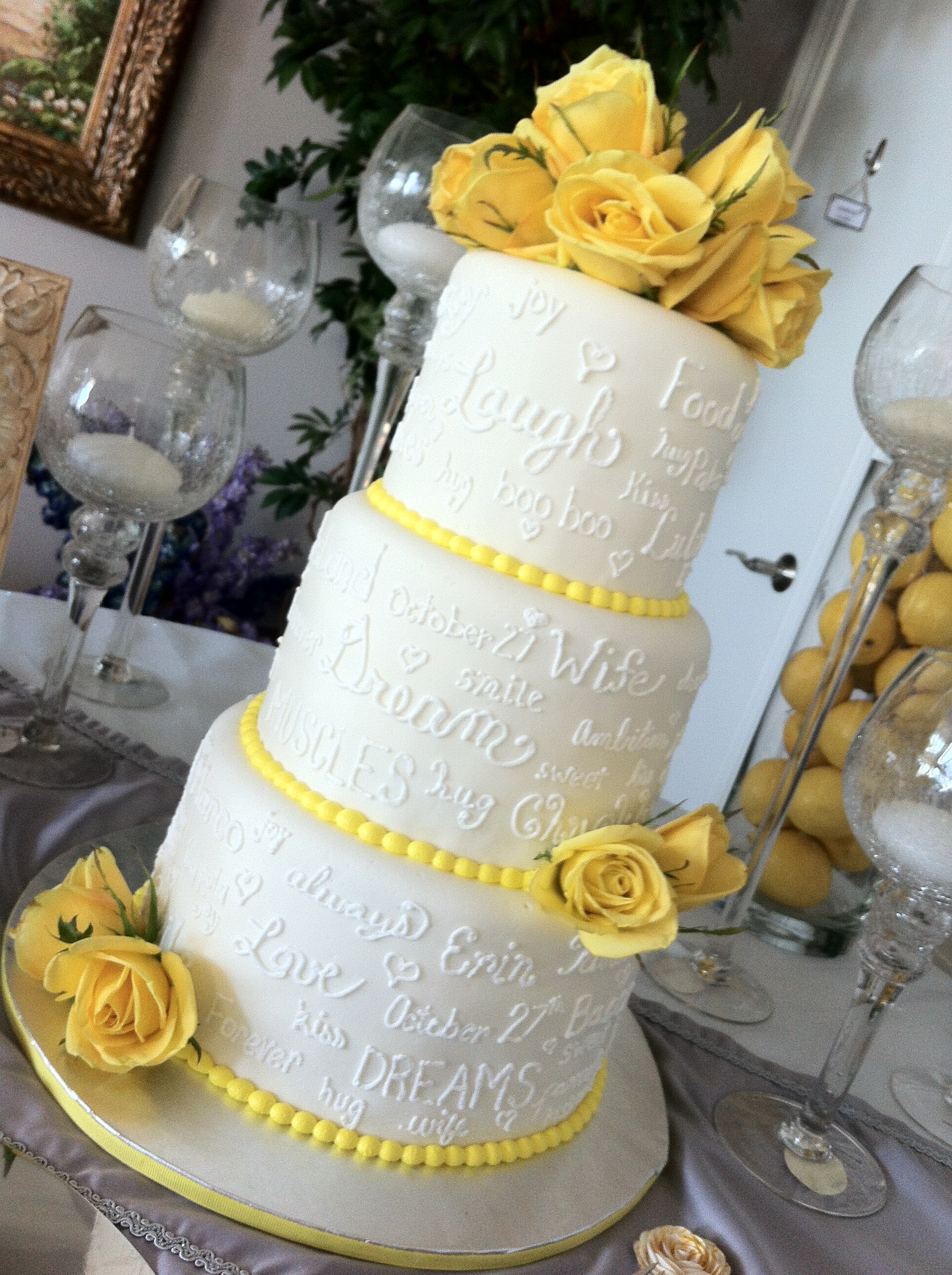 Erin    3 tier wedding cake with love notes   yellow accents     Destin         1936      2592 in Wedding Cakes