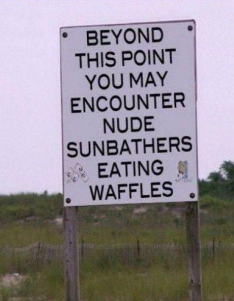 Nude Sunbathers Eating Waffles