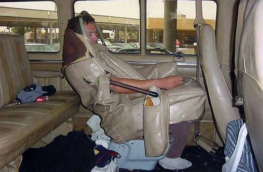 Man as a car seat. WTF?!