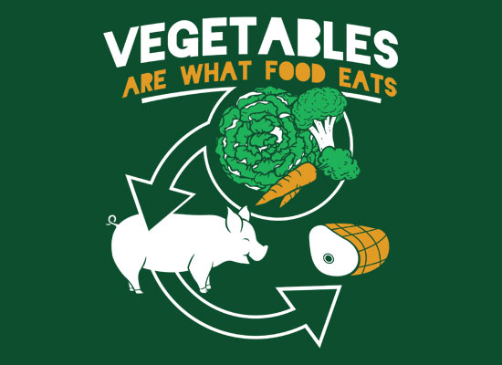 Vegetables are what food eat.