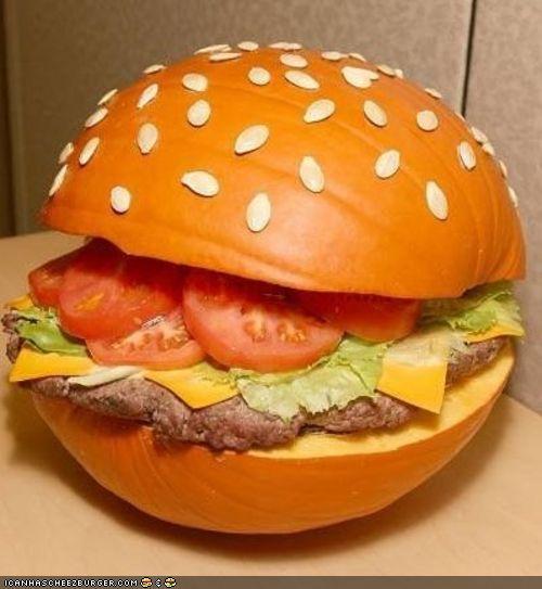 Pumpkin burger looks better than it tastes.