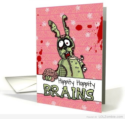 Zombie easter cards chocolate and gifts hippity hoppity brains negle Choice Image