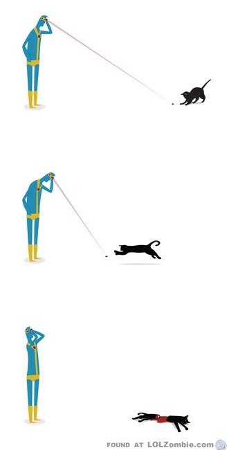 Cyclops Kills Cat with Laser