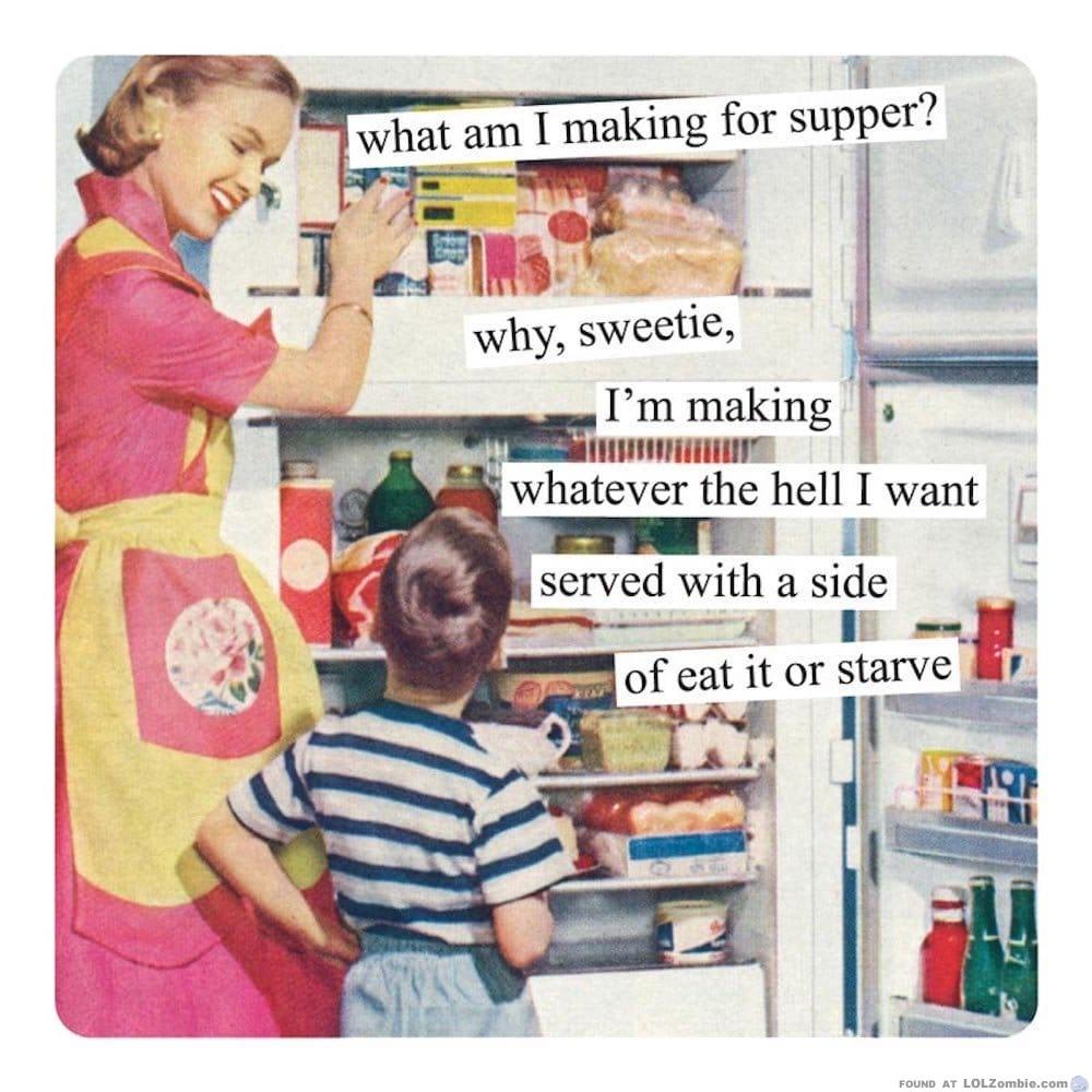 Mom and Kid at the fridge.