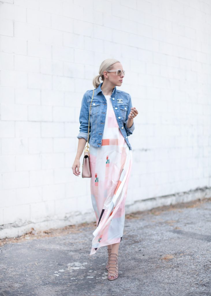 blush silk dress with denim jacket