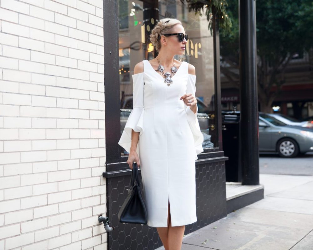maggy london white bell sleeve dress new year's eve looking back