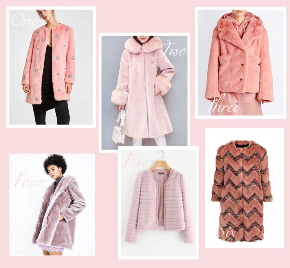 faux fur coat round up blush pink