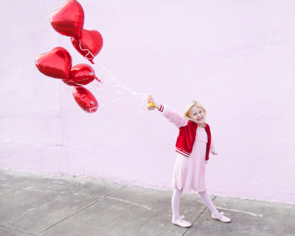 valentine's day with my daughters, red balloons, styling pink and red looks, j crew lace pants, h&m love scarf