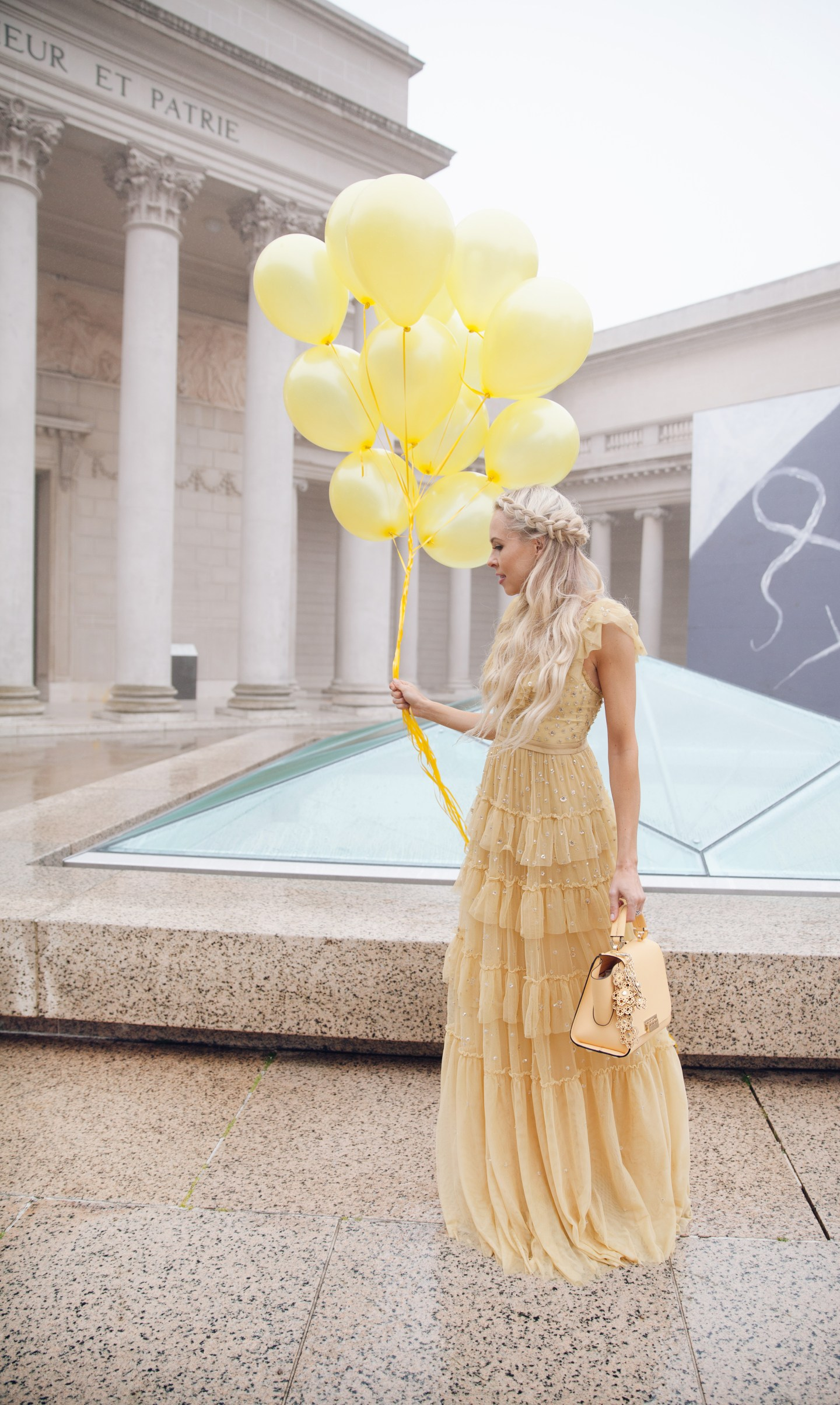 how to eBay, my style journey, needle & thread dress maxi yellow embroidered   Top San Francisco fashion blog, Lombard and Fifth, features her tips on How to Ebay effectively: image of a blonde woman wearing a stunning maxi dress found on Ebay