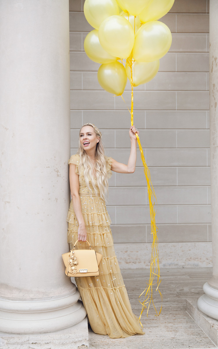 how to eBay and my fashion journey through time   Top San Francisco fashion blog, Lombard and Fifth, features her tips on How to Ebay effectively: image of a blonde woman wearing a stunning maxi dress found on Ebay