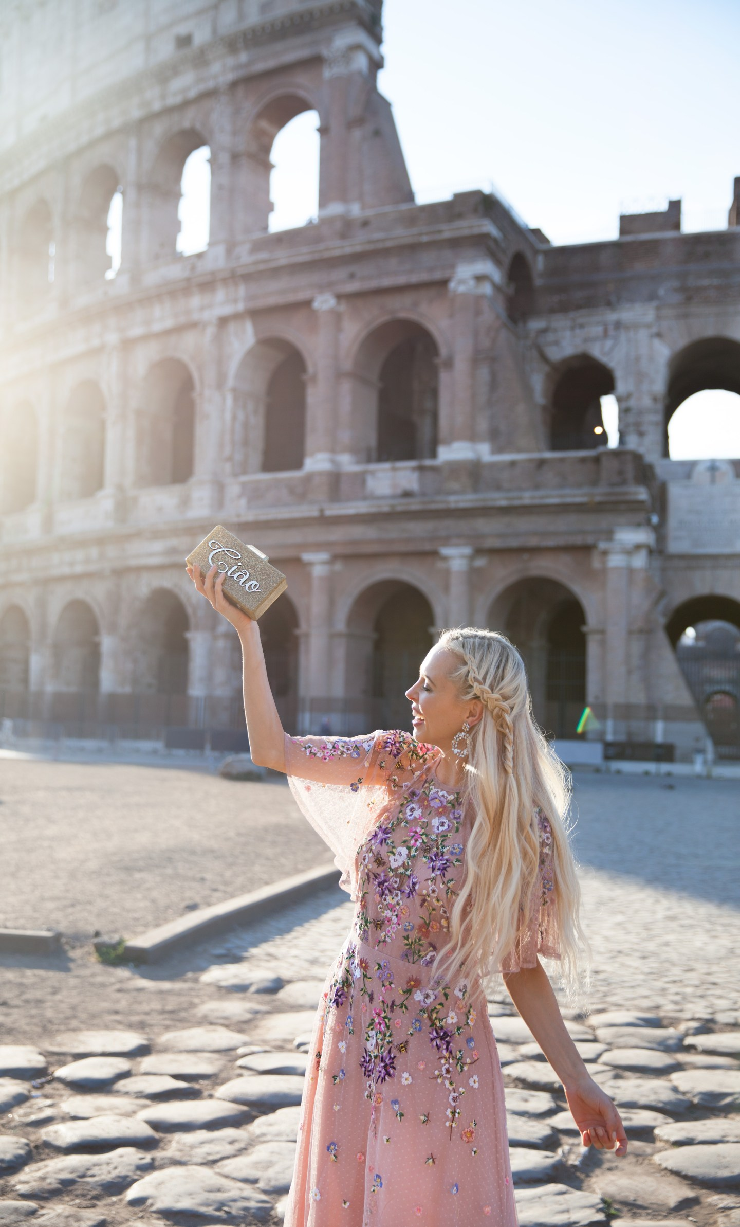 Colosseum_asos embroidered dress Rome | ASOS floral embroidered maxi dress featured by top San Francisco fashion blog, Lombard and Fifth: image of a blonde woman wearing a floral maxi dress at the Colosseum in Rome