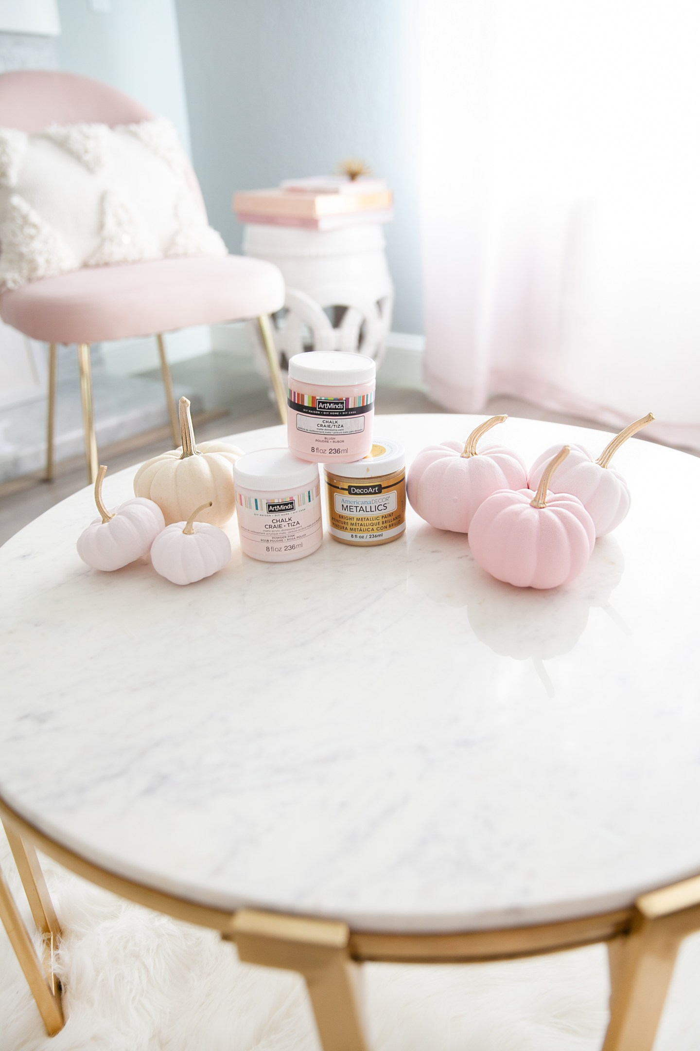 simple pumpkin decor diy | 5 Step Super Easy Ombre Pink Pumpkin Decor Tutorial featured by top San Francisco lifestyle blog, Lombard & Fifth