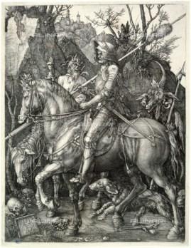 """""""The Knight, the death and the devil"""", B 98. Engraving by Albrecht Dürer. Musée des Beaux-Art de la Ville de Paris."""