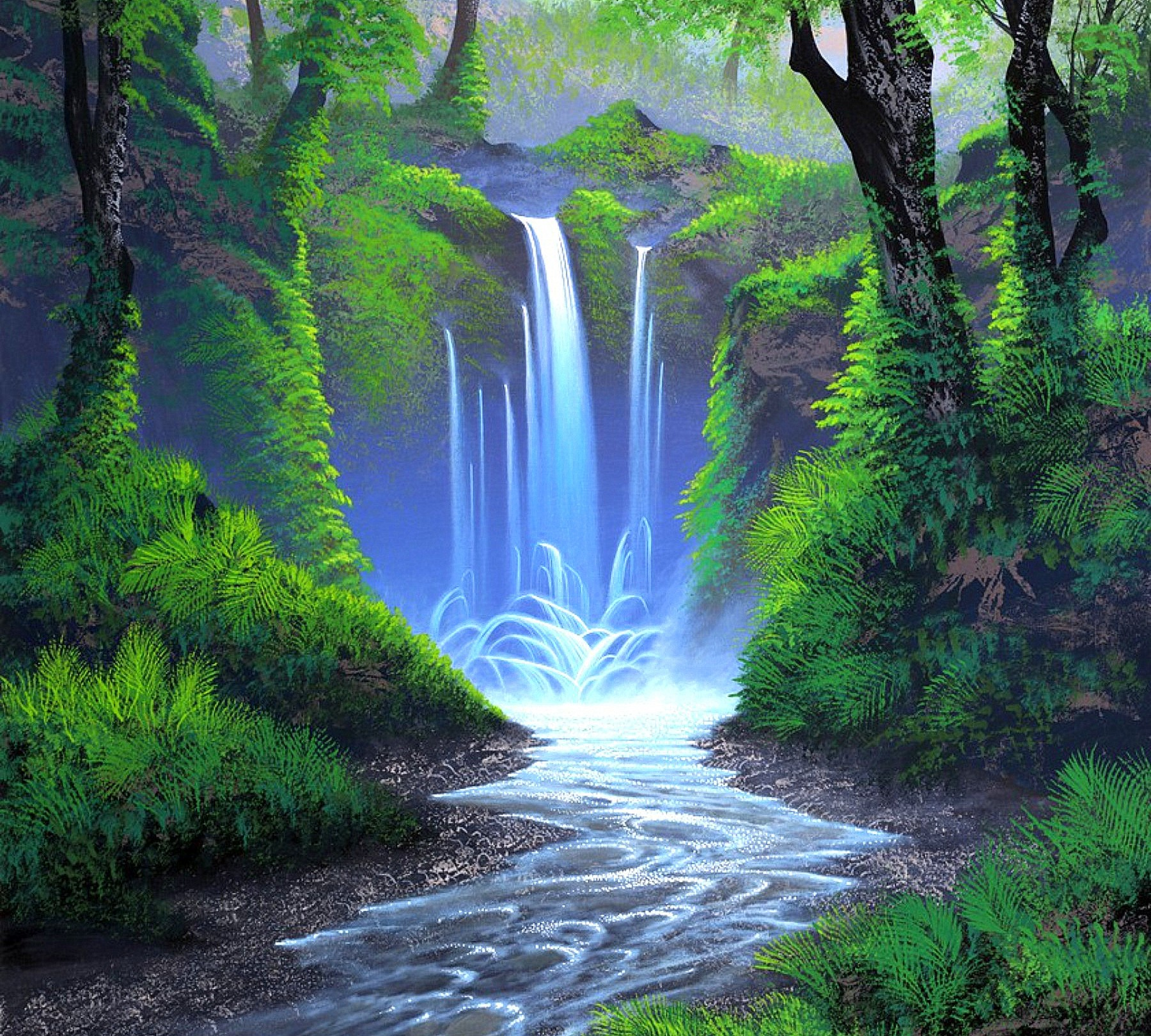 Colorful tropical waterfalls wallpaper voltagebd Image collections
