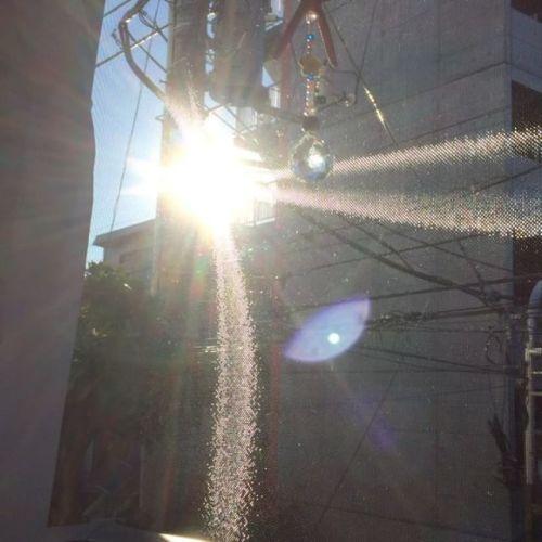 【朝の虹@マヒナオラ】冬の朝日も美しい!! #ロミロミ #ヒーリング #サロン #マヒナオラ #世田谷 #千歳船橋 #駅から徒歩3分 #aloha #サンキャッチャー #虹