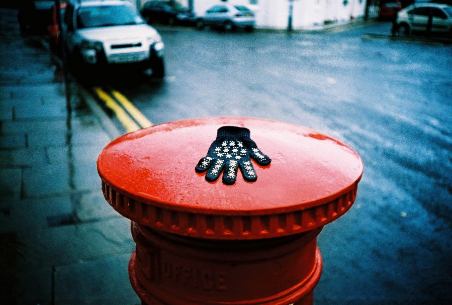 Lost glove on a Post Box 2008