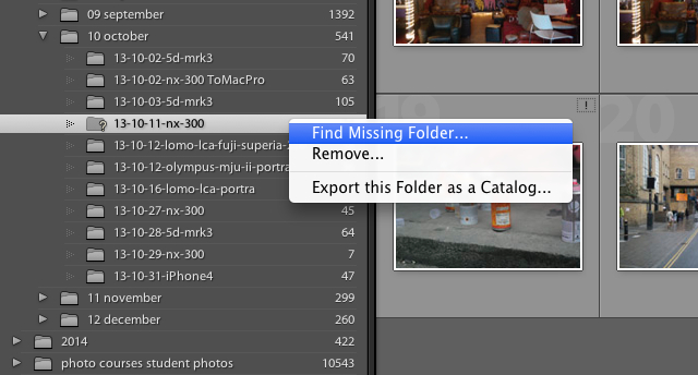 find a missing folder in Lightroom