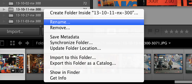 rename folder lightroom