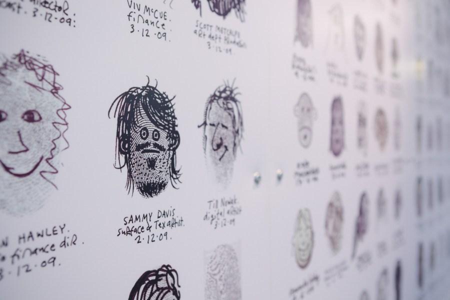 Fingerprint portraits in the Aardman canteen