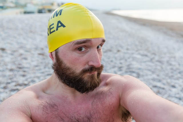 Kevin Meredith - Brighton Swimming Club member in the snow