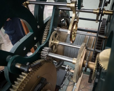 The gears that drive the DeWitt County Courthouse clock.