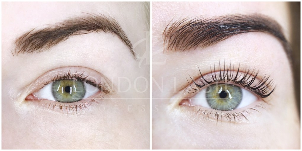 Before and after picture of Lash Filler treatment. Natural lashes are thicker, curlier and darker.