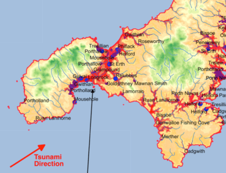 A rough map produced by Rory Walshe as part of his blog, Modelling risk from a potential Cornish tsunami.