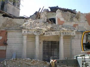 The local prefecture was damaged by the earthquake