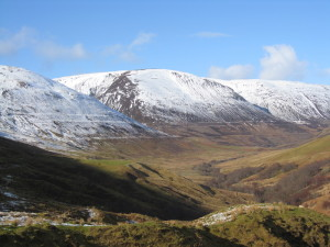 The Parallel Roads of Glen Roy, Highland Region, Scotland, highlighted by recent snowfall.