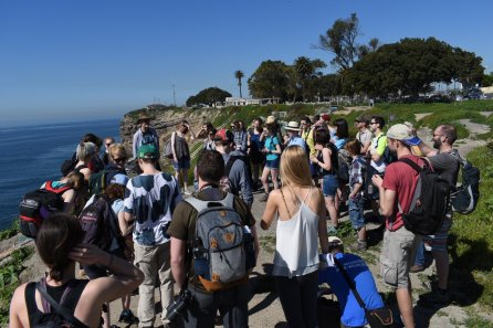 Miocene sediments and land slips taught by Paul Minton on the DTP California 2017 fieldtrip. Image by Richard Clark-Wilson.