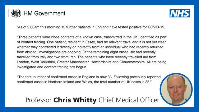 12 further patients in England have tested positive for COVID-19.