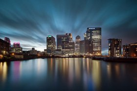 Canary Wharf view from the Blackwall Basin