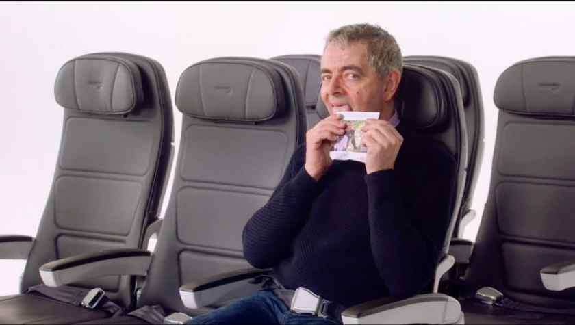 Rowan Atkinson as Mr Bean in the British Airways Safety Video (Image Credit: British Airways)