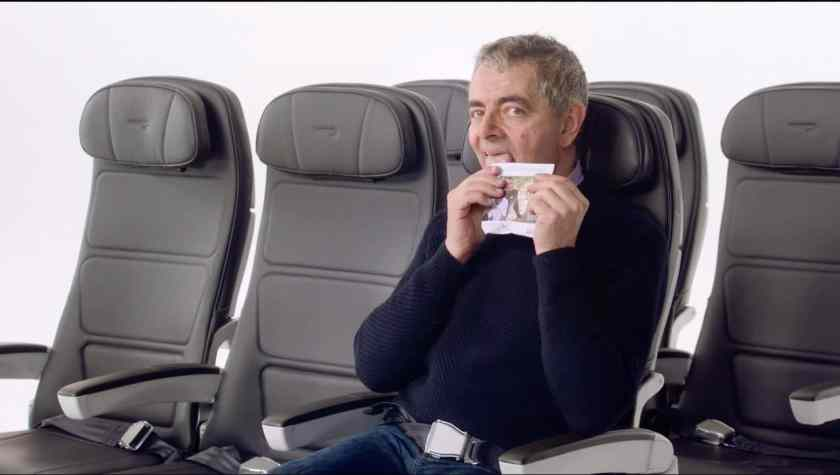 Rowan Atkinson as Mr Bean in the British Airways Safety Video (Image Credit: British Airways)